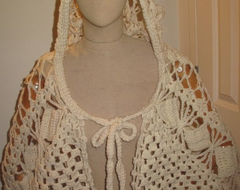 Crochet Lace hooded poncho/cape