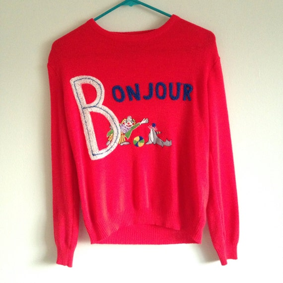 Vintage 70's Red Embroidered Clown Sweater * CYN LES by Shirlee Designs * French Bonjour and Adieu Acrylic Sweater * Size Small / Medium