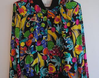 Vintage 1990s Colorblock Zip-up - Bejewled Jacket - Women's 90's Clothing