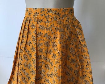 Pleated Mini Skirt, Orange background Skirt, Blue Little Floral print Skirt