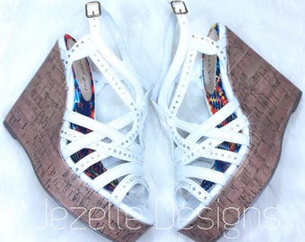 NEW! Bling Madden Girl Wedge Sandals - Custom Hand Jeweled with Swarovski Crystals - by Jezelle Designs - Bedazzled Wedge Heels