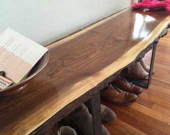 Entryway Bench Live Edge Slab Coffee Table Console Table Steel Legs Rustic  Industrial Mid Century Modern