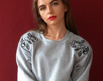 Rose shoulder embroidered sweater