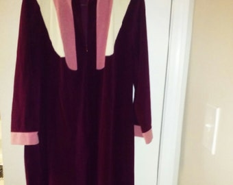 Long Plush Robe, Sz 12, Wine & Pink, JCPenney