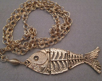 RARE Vintage 1960's Gold Fish Chain Belt>> Unique for sure!!>> new old stock, never worn> Movable Fish