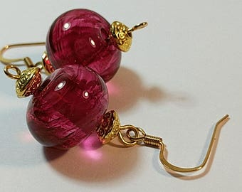 Ruby River Lamp Work Glass Bead Earrings
