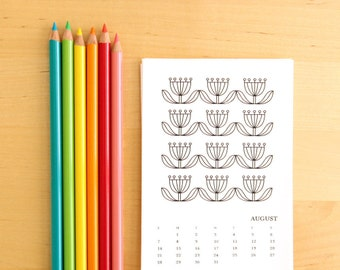2017 Coloring Calendar for Adults - Printable Calendar 4x6 Sun-Sat and Mon-Sun - DIY Monthly Calendar Coloring for Adults Stocking Stuffer