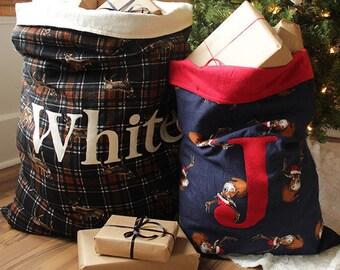Personalized Christmas Santa Sack   Oversized Monogram Christmas Tote   Decorative Xmas Gift Bag {Christmas Santa Sack}