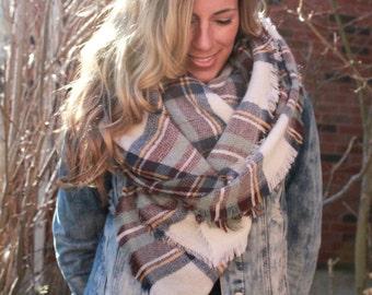 SALE!! Heather Skies Plaid Blanket Scarf, Winter scarf, Blanket scarf, Plaid Scarf, Tartan scarf, plaid scarf, Oversized Sized Scarf