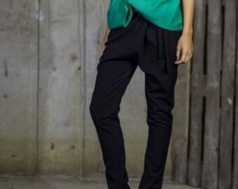 Black Drop Crotch Trousers | Elegant Tapered Pants | Wrap Custom Pants | Long Formal Pants by Silvia Monetti