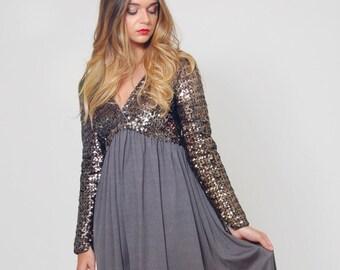 Vintage 70s SEQUIN Dress Metallic GREY Evening Dress DRAPED Long Sleeve Glam Maxi Dress Sequin Party Dress
