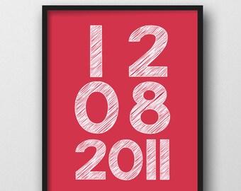 """Personalisierte Jahrestag Datum Wandkunst, 8 x 10"""", druckbare Kunst, Geschenke für Frau oder Mann, Ehe Schilder, Familie Wall Decal, wichtiges Datum"""