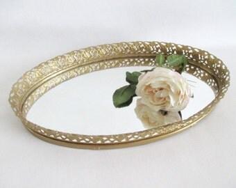 Vanity Tray Gold Filigree Frame Mirror Gallery Tray
