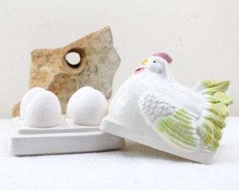 Eier Service Platte für Vier Eier 80er Jahre Vintage Huhn Schüssel