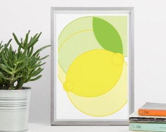 Poster mit Zitrone - Kunst zum Ausdrucken - DIN A4 Zitrone Gelb Kreis 8x10 - Zitrone Küche Dekoration, Poster Minimal, Geometrisch Download