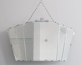 Art Deco Fan Mirror With Chrome Details & Separate Glass Bevel Panels