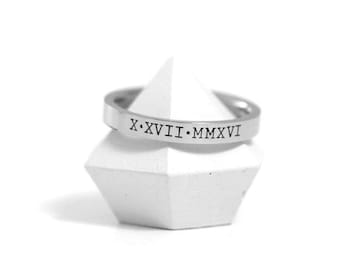 Engraved Ring - Hand Stamped Rings - Stacking Ring - Silver Ring - Custom Engraved Ring - Personalized Wedding Band - Roman Numerals Stamped