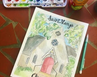 Saint Marys school for girls water color print