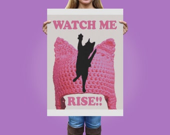 Pink Cat Hat Watch Me Rise Pink Pussy Cat Cross Stitch Pattern, Modern Cross Stitch Pattern, Women's Rights March 2017, Instant Download