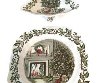 vintage johnson brothers christmas china christmas tree dish square christmas dish christmas