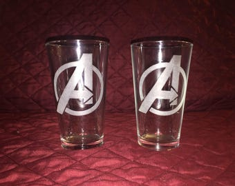 2 Hand Etched Avengers Pint Glasses!