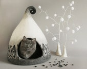 OOAK Scandinavian Nordic cat cave cat house cat bed Hand Made grey black white gift ideas exclusive  house Eco friendly