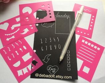Planner Stencil Set of 5 Pink Mini BUJO Planner Stencils, Bullet journal stencil, Bujo Stencil, flexible plastic planner insert stencils