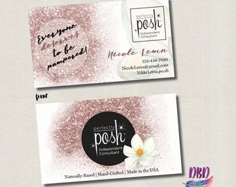 Perfectly Posh Rose Gold & Flower Business card - DIGITAL PRINTABLE FILE