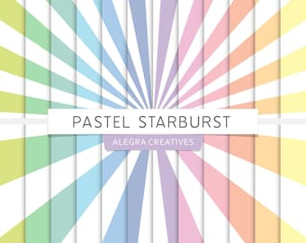 Pastel Starburst digital paper, rays, sunburst, light burst, sunrays, rainbow colors, scrapbook papers (Instant Download)