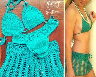"""Crochet Bikini Pattern with Skirt, """"Tigerlily"""" Crochet Bikini Bra, Crochet Brazilian Style Bottom & Crochet Skirt Pattern, Size XS to L"""