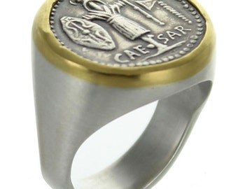 Sterling Silver Ring With Julius Caesar Coin set in a 22K Gold Bezel