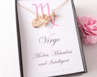 Gold virgo constellation jewelery, virgo gift, virgo pendant, virgo star sign, virgo, zodiac sign necklace, astrology necklace