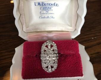 Authentic Antique Art Nouveau Period Platinum Diamond Ladies Ring
