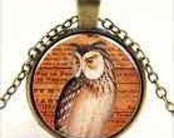 Bronze Charm Owl Book Cabochon Necklace