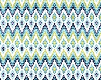 Fat Quarter Juxtaposey Posey Diamond Aqua By Riley Blake Fabric