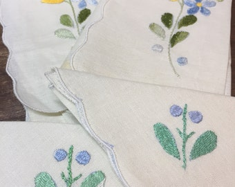 Vintage Hankies Napkins Blue and Yellow Floral Set of 4  Handmade