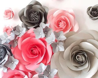 Nursery Paper Flowers - Paper Flower Backdrop - Bridal Shower Decoration - Giant Paper Flowers - Paper Flower Wall