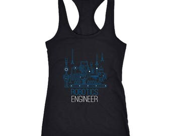Robotics Engineer Racerback Tank Top T-Shirt. Funny Robotics Engineer Tank.