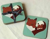 Fox Coaster, fox coasters, art coaster set, fox gift, gift set, wildlife art, heart art, woodland animal, forest animal, drink coasters