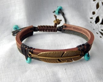Bracelet strap leather bi color large feather bronze