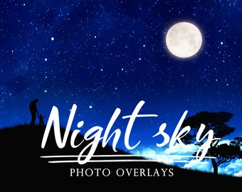 Set night sky overlays, Moon overlays, photoshop overlays, night sky overlay, moon overlay, moon night overlays
