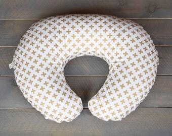 Nursing Pillow Cover Gold Swiss Cross for Boppy Pillow, Breastfeeding Pillow Slipcover Gold, Modern Gold Nursery
