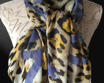 Yellow white & blue heart leopard scarf