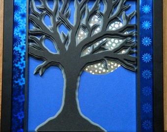 3D Paper Sculpture Moon Tree