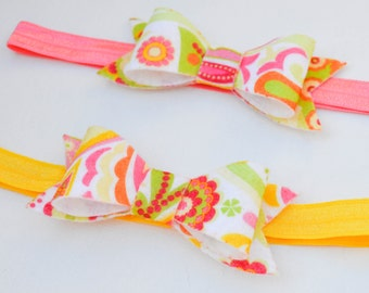 Felt Bow Headbands, Headband, Felt Headband, Bow, Hair clip, felt bow, bow clip, yellow, pink, green, pink bow, yellow bow, pink hairbow