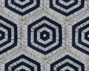 Repetitive Hexagon Pattern Field Tile Floor Geometric Design Marble Mosaic HF135