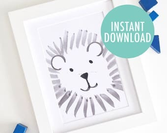 Instant Download // Watercolour Lion A3 Print - Simple Modern Nursery Art - Jungle Safari Lion King Cute Baby Shower Gift