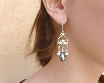 Tahitian pearls on sterling silver, earrings for women