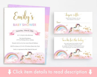 Unicorn Baby Shower Printable Pack, Unicorn Baby Shower Invitation, Diaper Raffle, Books for Baby, Unicorn Party, Rainbow Unicorn, Rainbow