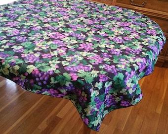 Vintage Square Black Cotton Grape Tablecloth, purple grape, grape design, black and purple, wine tasting, shabby chic, cottage chic, porch